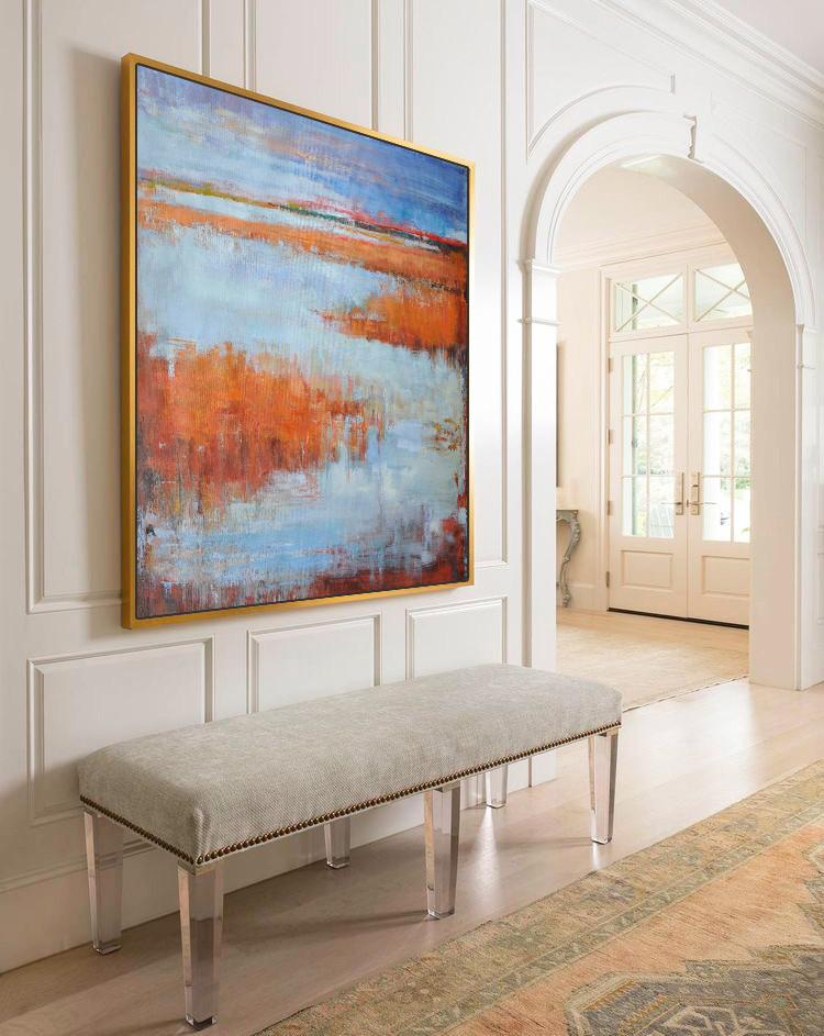 Hand Painted Extra Large Abstract Painting,Abstract Landscape Oil Painting,Original Art Acrylic Painting,Blue,Orange,Purple Grey,Red.etc