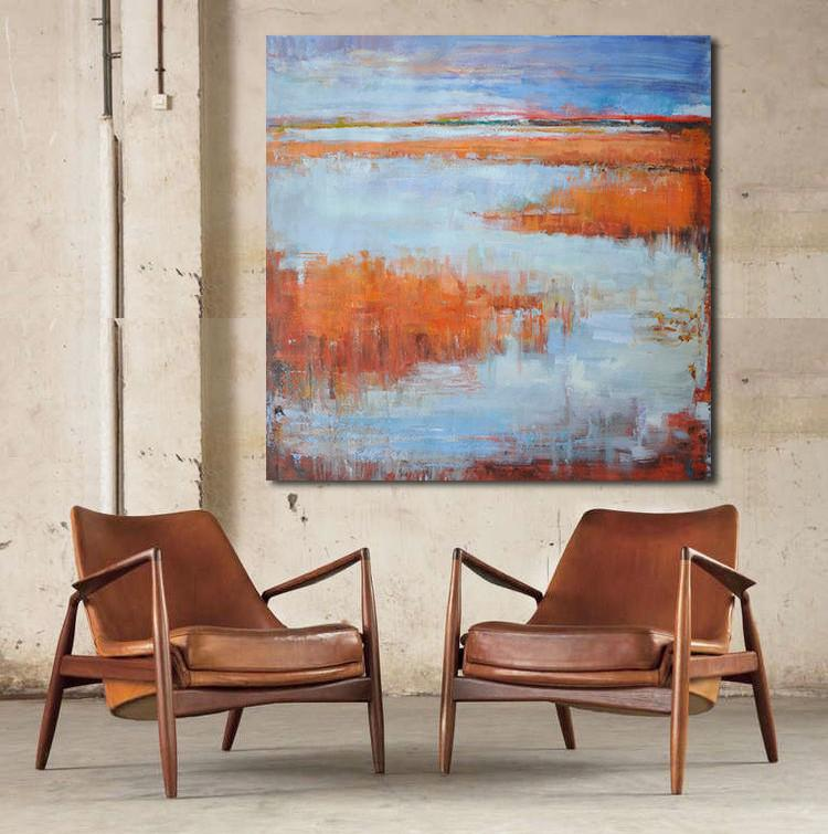 Blue Orange Red Brown Modern Art Painting