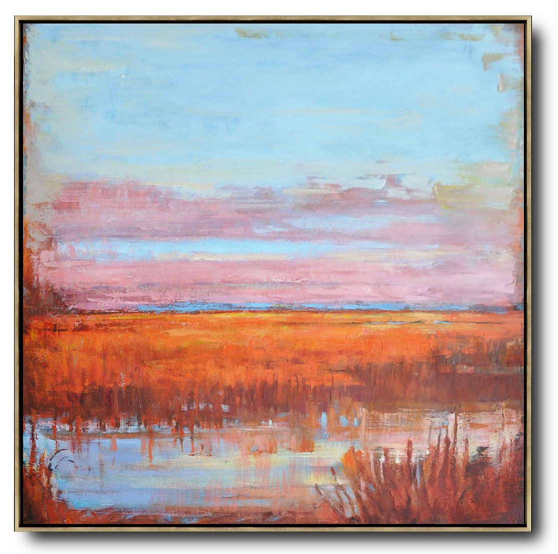 Large Abstract Art,Abstract Landscape Oil Painting,Contemporary Art Canvas Painting,Blue,Pink,Orange,Red.etc