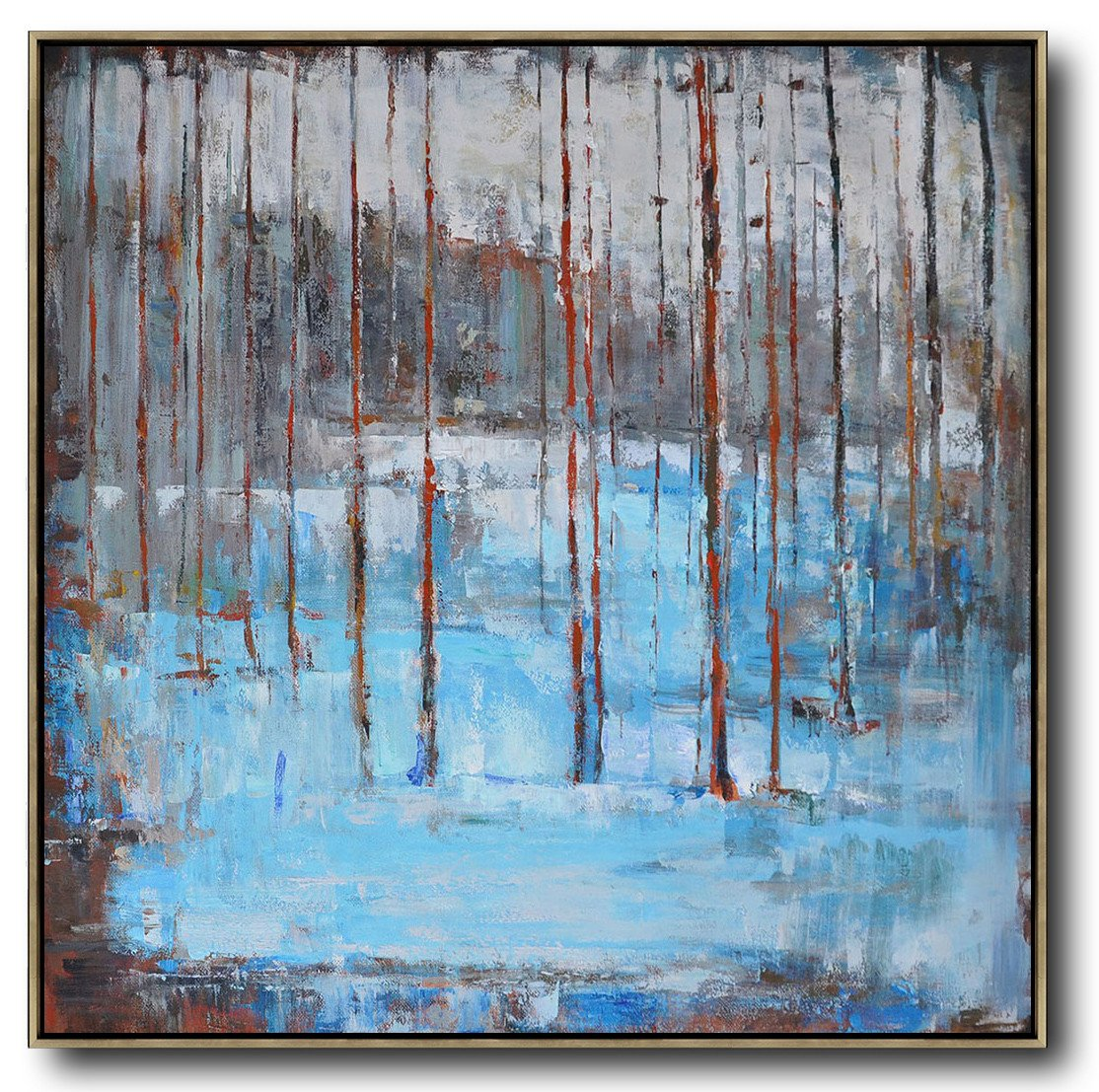 Abstract Painting Extra Large Canvas Art,Abstract Landscape Oil Painting,Oversized Canvas Art,Blue,Grey,Red,White.etc
