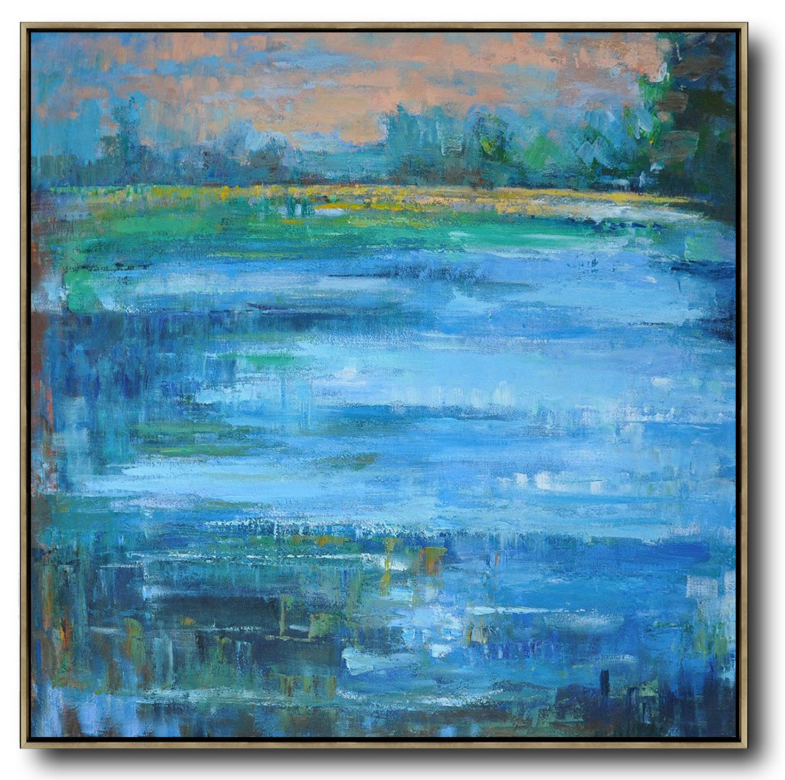 Hand Made Abstract Art,Abstract Landscape Oil Painting,Acrylic Painting On Canvas,Earthy Yellow ,Blue,Green.etc