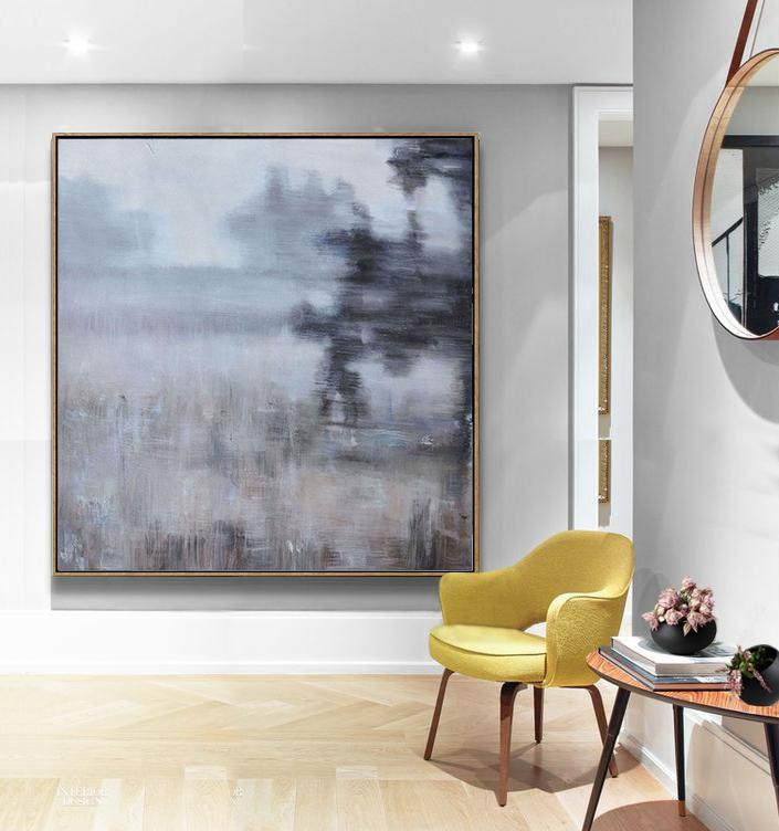 Abstract Painting Extra Large Canvas Art,Abstract Landscape Oil Painting,Handmade Acrylic Painting,Purple Grey,Yellow,Black.etc