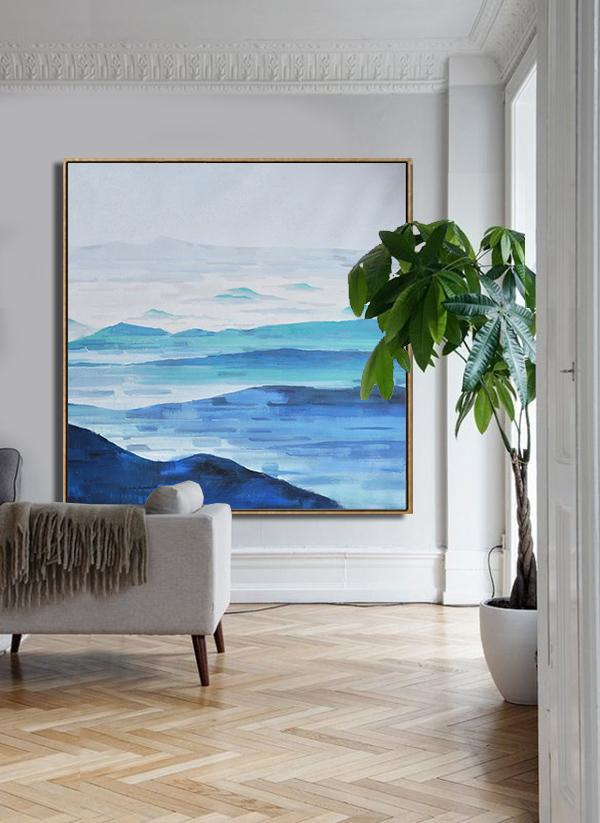 Handmade Large Contemporary Art,Abstract Landscape Oil Painting,Modern Canvas Art,Grey,White,Blue.etc