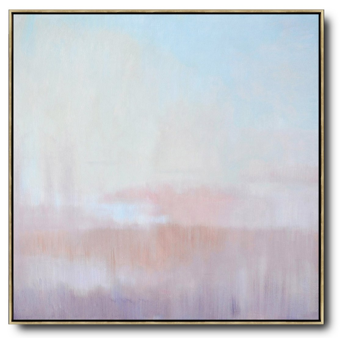 Handmade Large Painting,Abstract Landscape Oil Painting,Large Wall Art Home Decor,Sky Blue,Pink,Light Yellow.etc