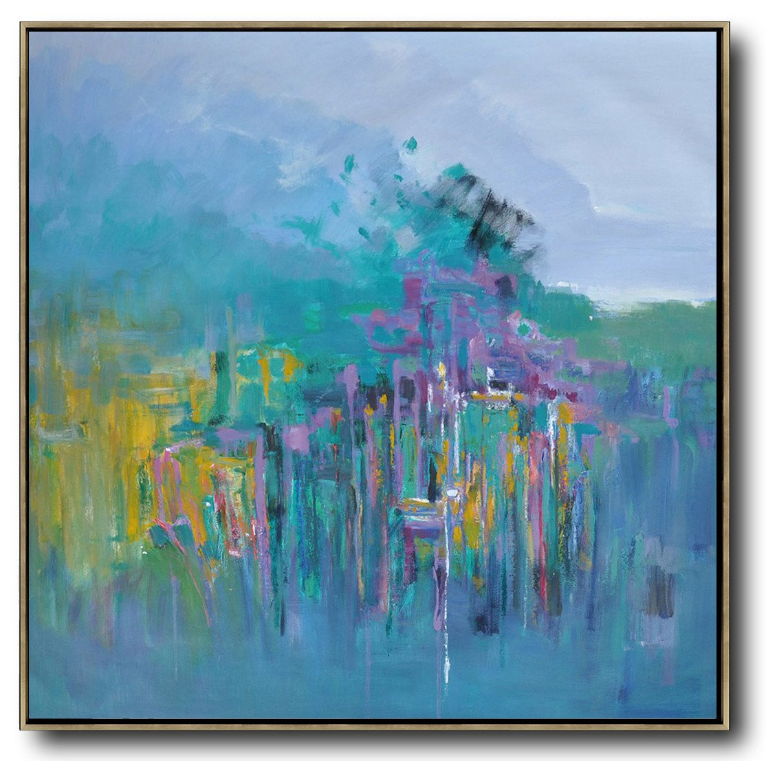 Hand Painted Extra Large Abstract Painting,Abstract Landscape Oil Painting,Artwork For Sale,Purple Grey,Lake Blue,Purple,Yellow.etc