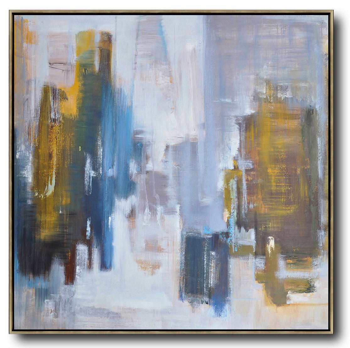 Extra Large Acrylic Painting On Canvas,Abstract Landscape Oil Painting,Huge Abstract Canvas Art,White,Purple Grey,Yellow,Blue.etc