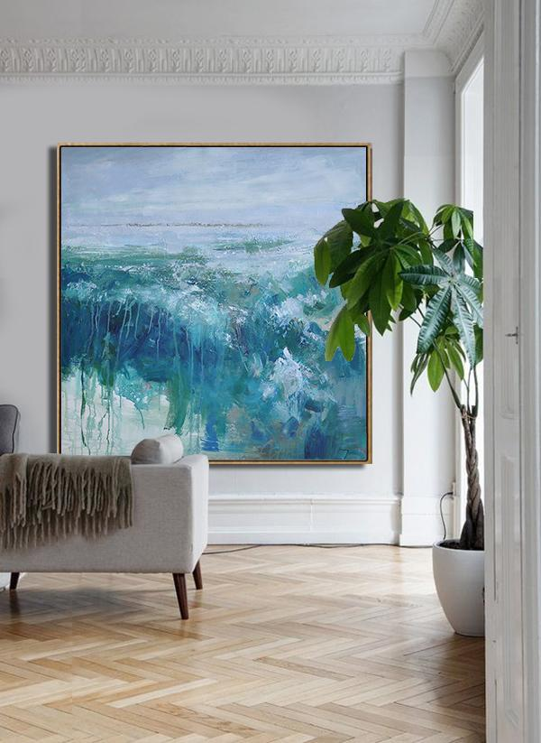 Abstract Painting Extra Large Canvas Art,Abstract Landscape Oil Painting,Modern Paintings,Purple Grey,Lake Blue,Dark Blue,White.etc