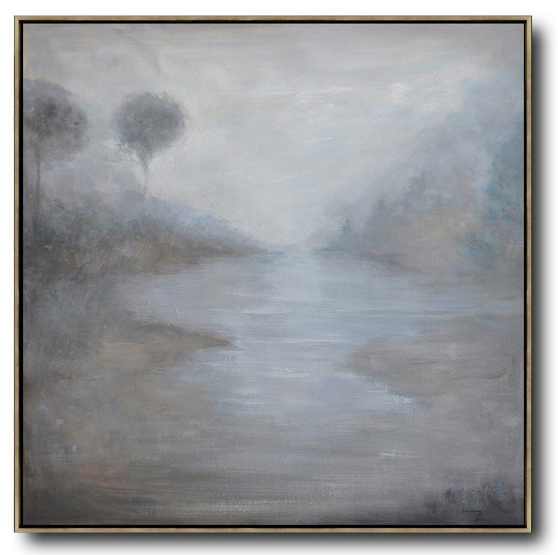 Extra Large Canvas Art,Abstract Landscape Oil Painting,Canvas Wall Art,Grey,White,Black.etc