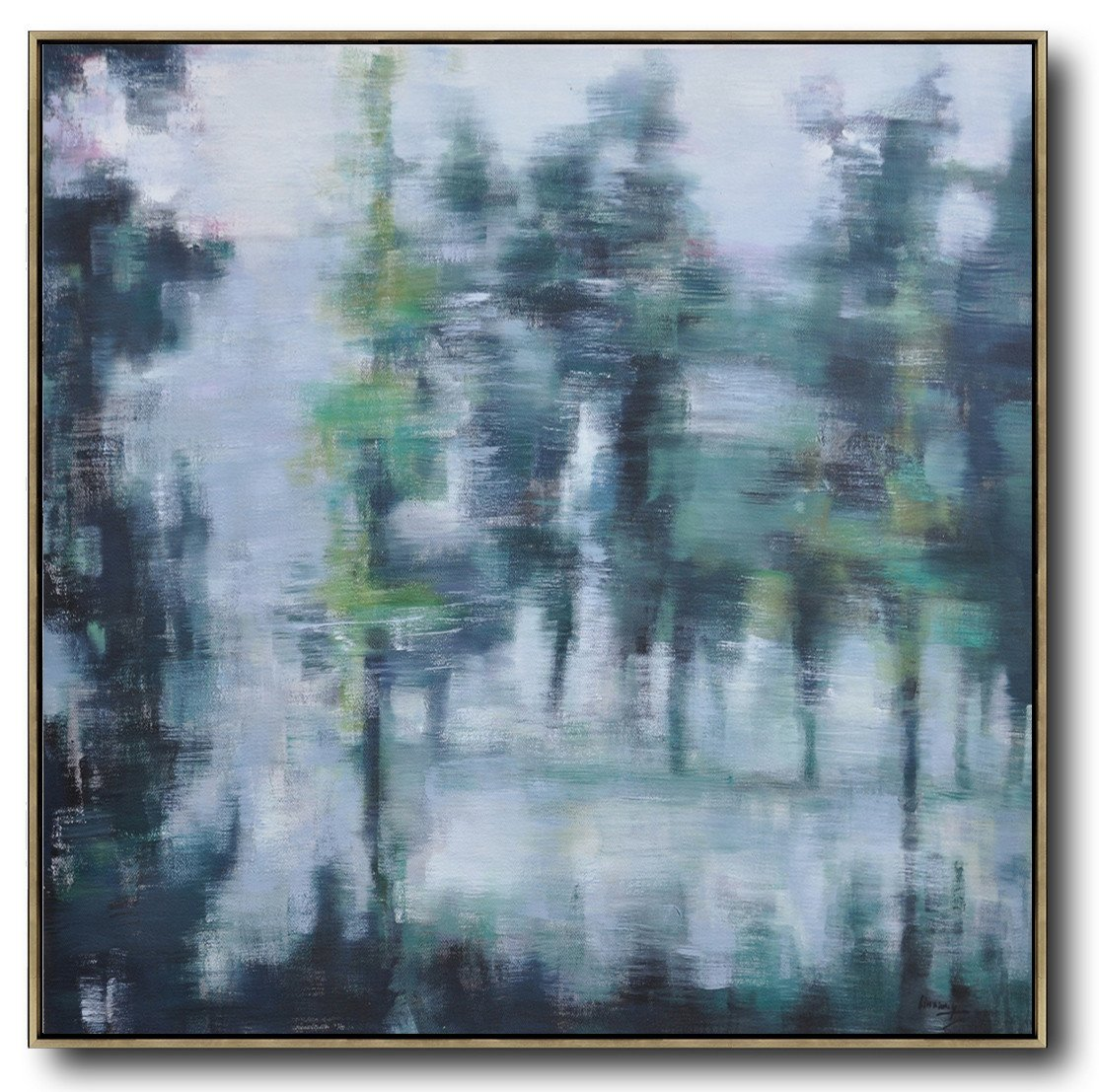 Large Abstract Painting Canvas Art,Abstract Landscape Oil Painting,Acrylic Minimailist Painting,White,Grey,Dark Green.etc