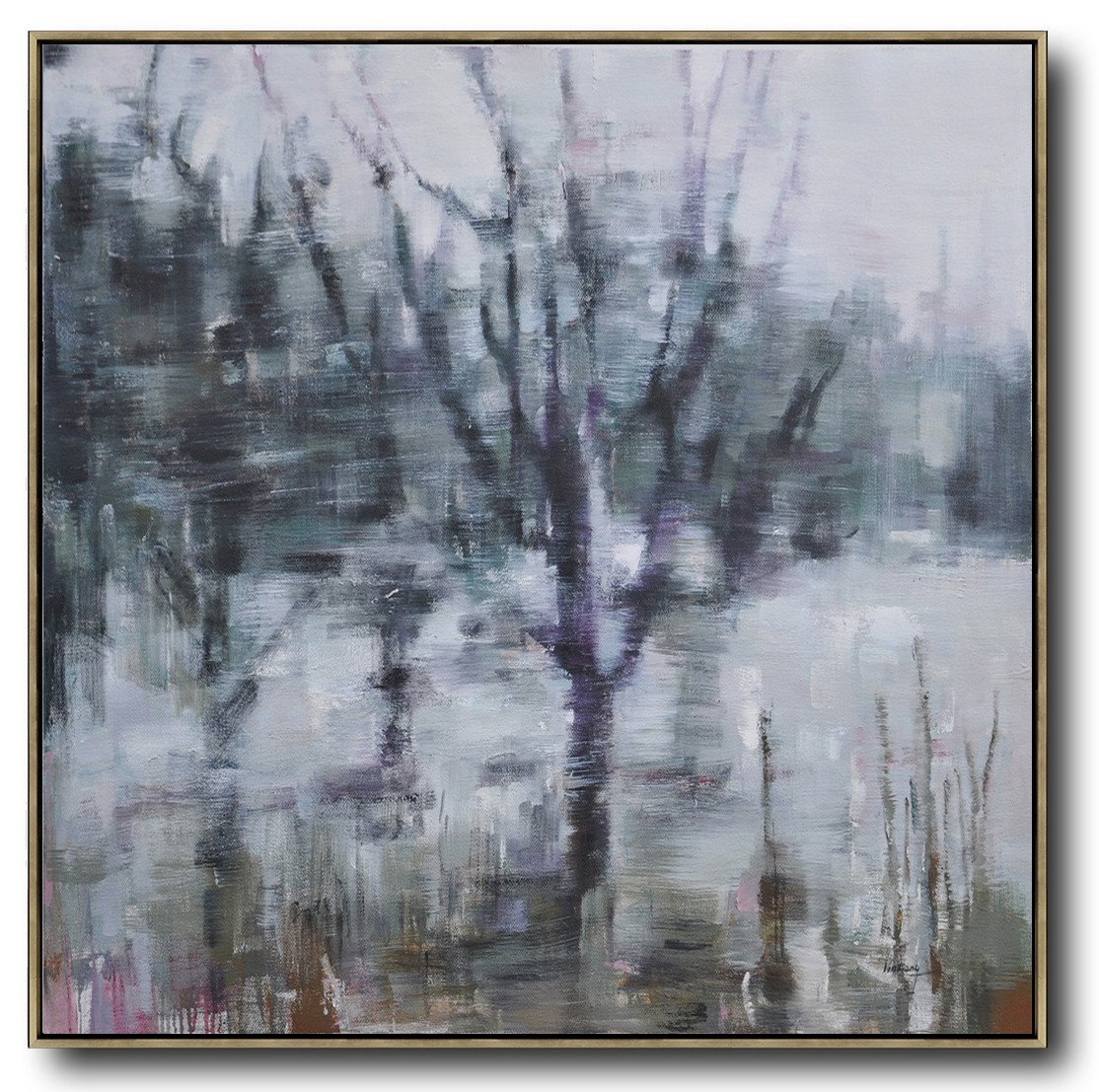 Oversized Canvas Art On Canvas,Abstract Landscape Oil Painting,Original Abstract Painting Canvas Art,White,Dark Green,Grey,Purple.etc
