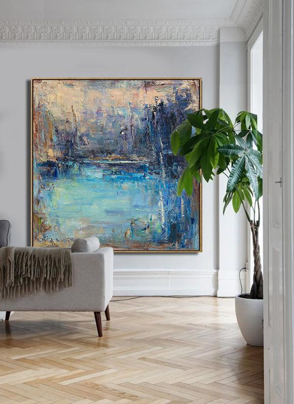 Handmade Large Contemporary Art,Abstract Landscape Oil Painting,Hand Paint Large Art,Yellow.Blue,Purple.etc