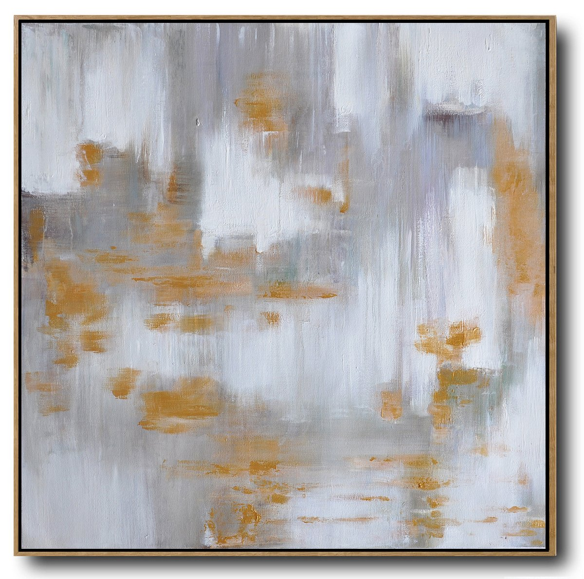 "Extra Large 72"" Acrylic Painting,Large Abstract Landscape Oil Painting On Canvas,Large Contemporary Painting,White,Grey,Yellow.etc"
