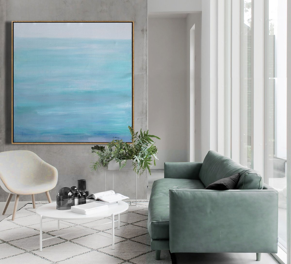 Extra Large Canvas Art,Large Abstract Landscape Oil Painting On Canvas,Large Colorful Wall Art,Grey,Lake Blue,White.etc