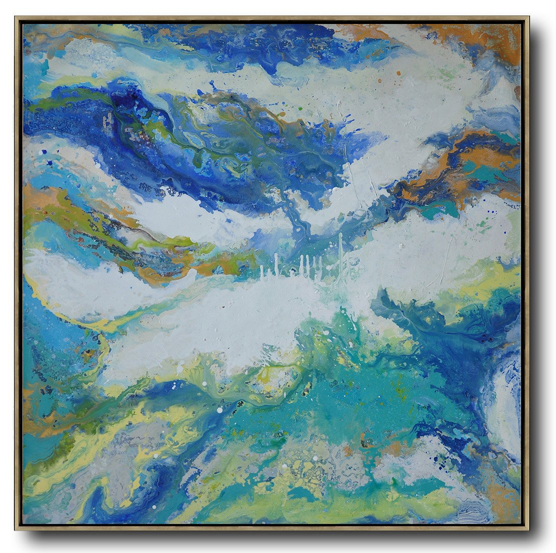Large Abstract Art,Contemporary Oil Painting,Big Art Canvas,White,Orange,Blue,Lake Blue.etc