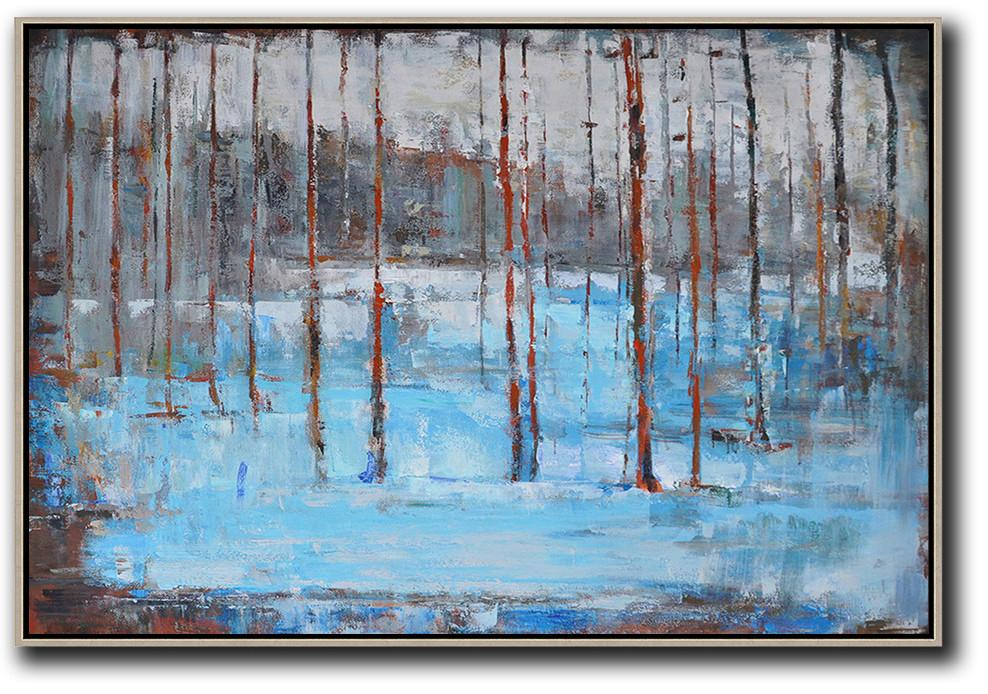 Handmade Extra Large Contemporary Painting,Horizontal Abstract Landscape Oil Painting On Canvas,Canvas Artwork For Sale,Blue,Grey,Red,White,Brown.etc