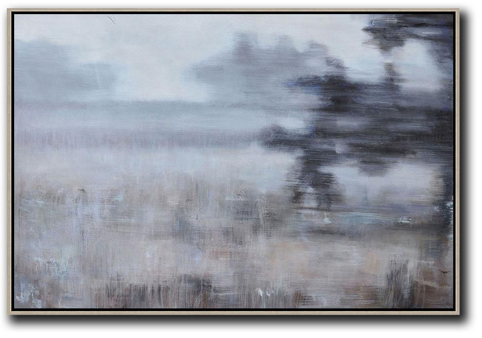 Handmade Large Painting,Horizontal Abstract Landscape Oil Painting On Canvas,Contemporary Art Acrylic Painting,White,Grey,Brown,Black.etc
