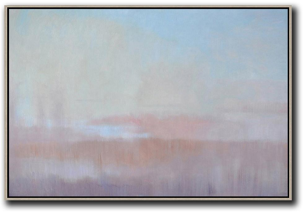 Extra Large Acrylic Painting On Canvas,Horizontal Abstract Landscape Oil Painting On Canvas,Large Abstract Wall Art,Sky Blue,Light Yellow,Pink.etc