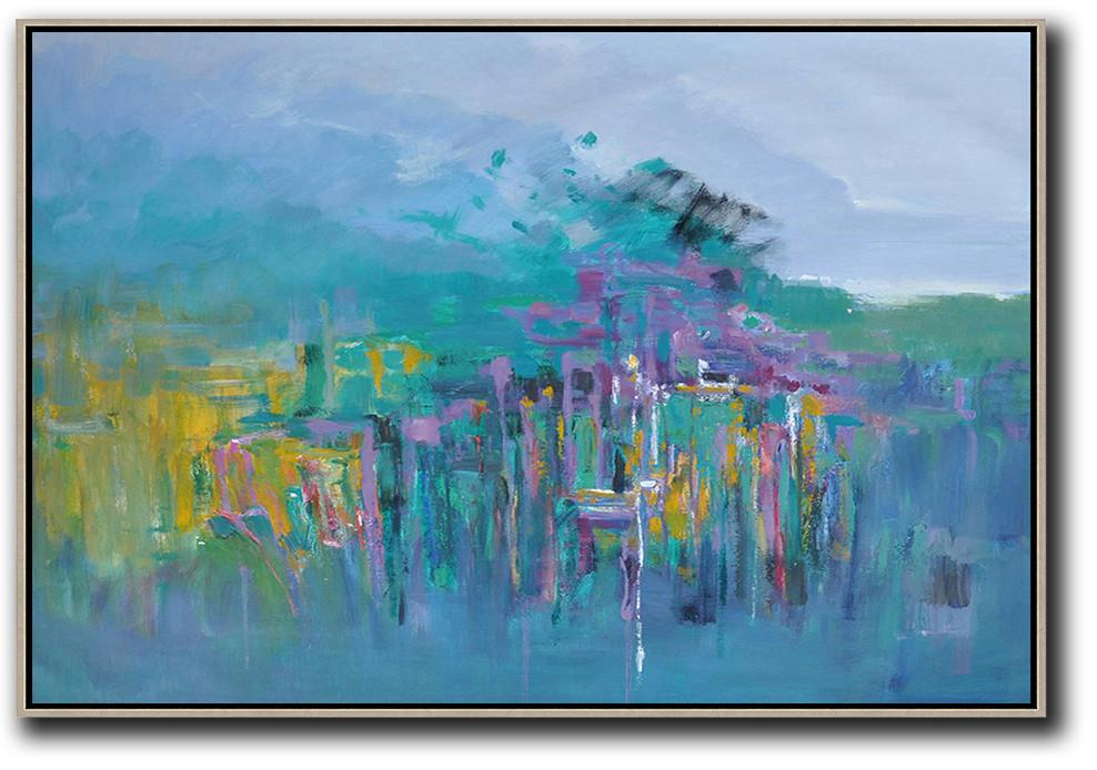 Original Abstract Painting Extra Large Canvas Art,Horizontal Abstract Landscape Oil Painting On Canvas,Modern Canvas Art,Purple Grey,Green,Yellow,Purple.etc