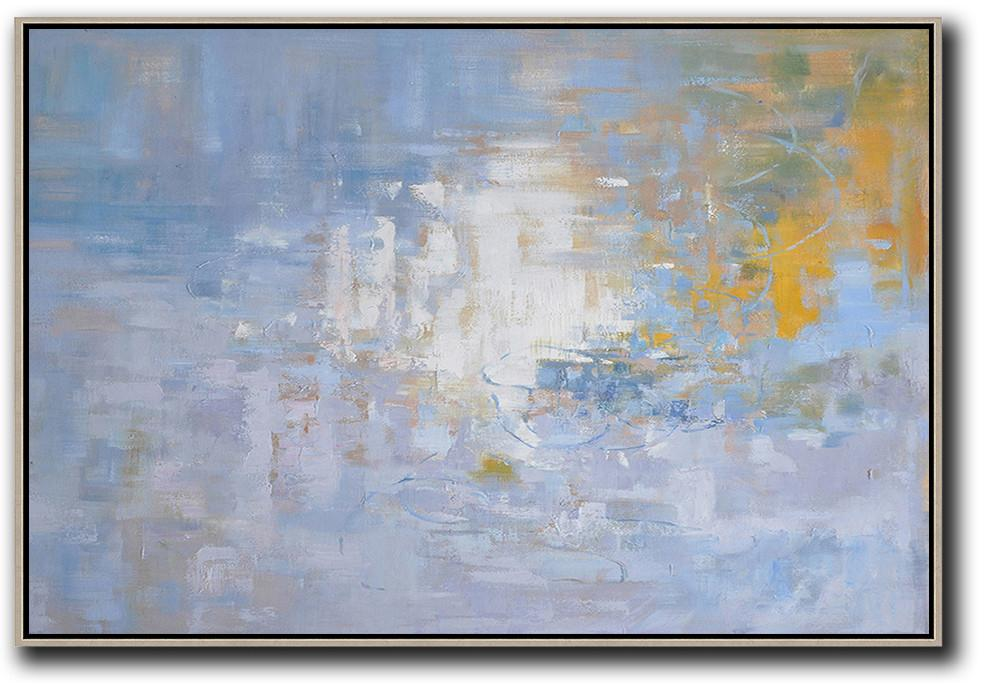 Handmade Extra Large Contemporary Painting,Horizontal Abstract Landscape Oil Painting On Canvas,Canvas Paintings For Sale,Purple Grey,White,Yellow.etc