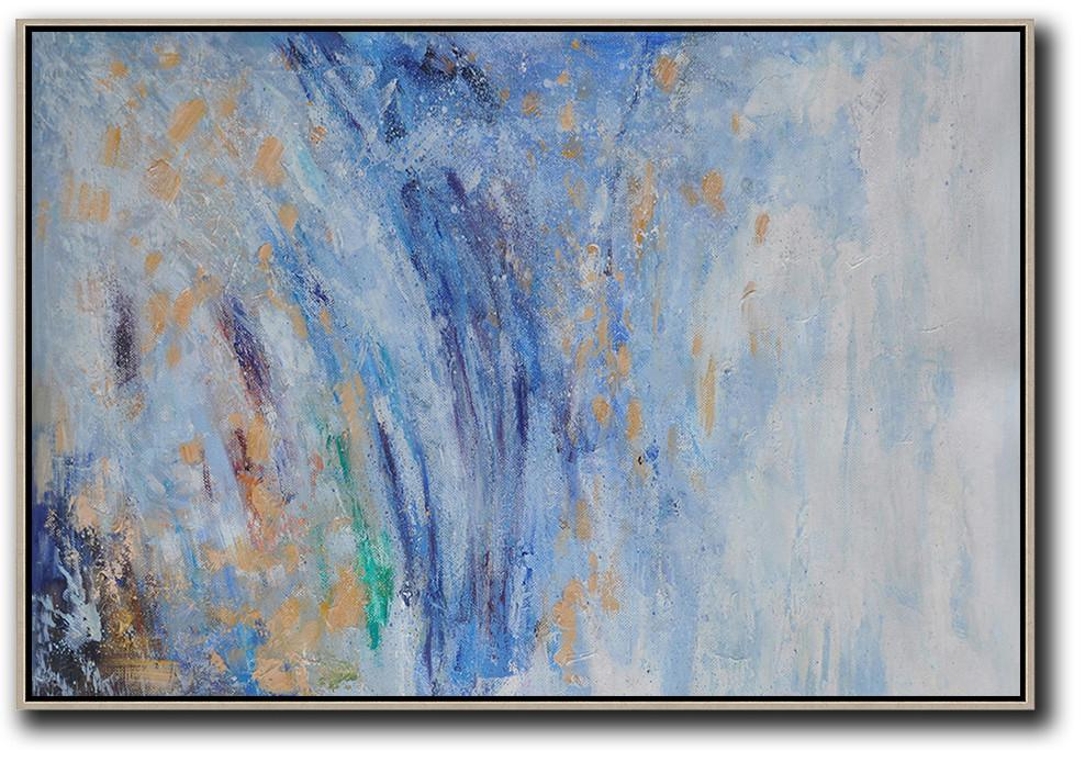 Large Abstract Art,Horizontal Abstract Landscape Oil Painting On Canvas,Wall Art Ideas For Living Room,Blue,Grey,Yellow.etc
