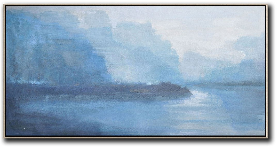 Large Abstract Art Handmade Painting,Panoramic Abstract Landscape Painting,Acrylic Painting On Canvas,White,Sky Blue,Blue,Purple.etc