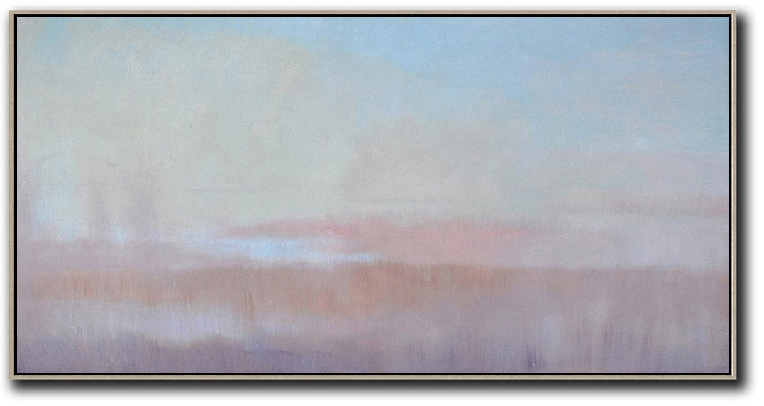 Original Painting Hand Made Large Abstract Art,Panoramic Abstract Landscape Painting,Oversized Custom Canvas Art,Sky Blue,Light Yellow,Pink.etc