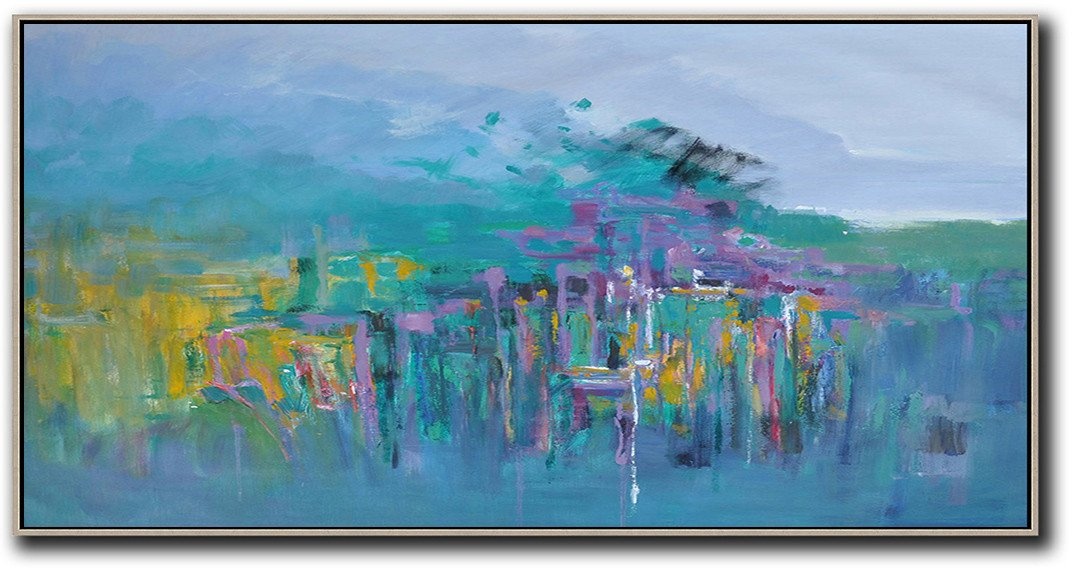 Extra Large Acrylic Painting On Canvas,Panoramic Abstract Landscape Painting,Large Oil Canvas Art,Purple Grey,Green,Purple,Yellow.etc