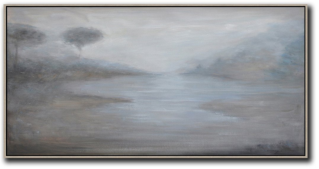 Large Abstract Painting Canvas Art,Panoramic Abstract Landscape Painting,Large Wall Canvas,Grey,White,Black.etc