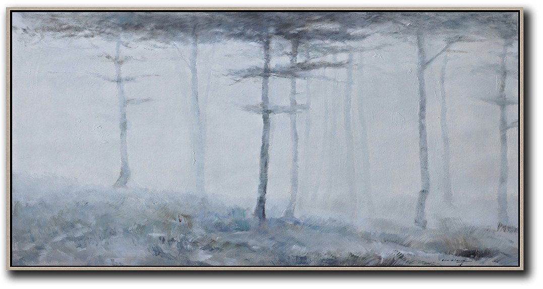 Hand Painted Extra Large Abstract Painting,Panoramic Abstract Landscape Painting,Extra Large Paintings,White,Grey,Black.etc