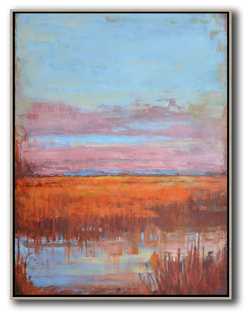 Large Abstract Art Handmade Painting,Abstract Landscape Painting,Canvas Wall Art Home Decor,Sky Blue,Pink,Orange,Red.etc