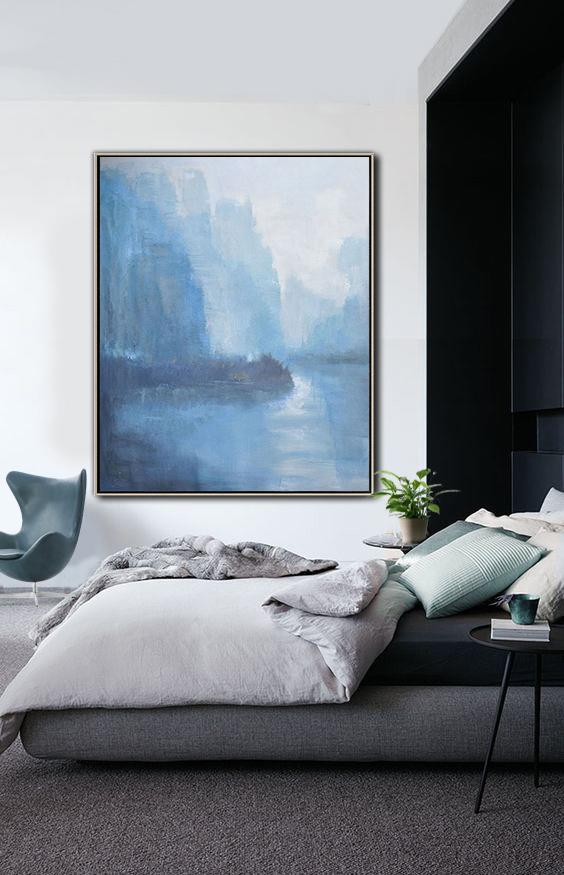 Huge Abstract Painting On Canvas,Abstract Landscape Painting,Hand Paint Large Clean Modern Art,White,Blue,Grey.etc