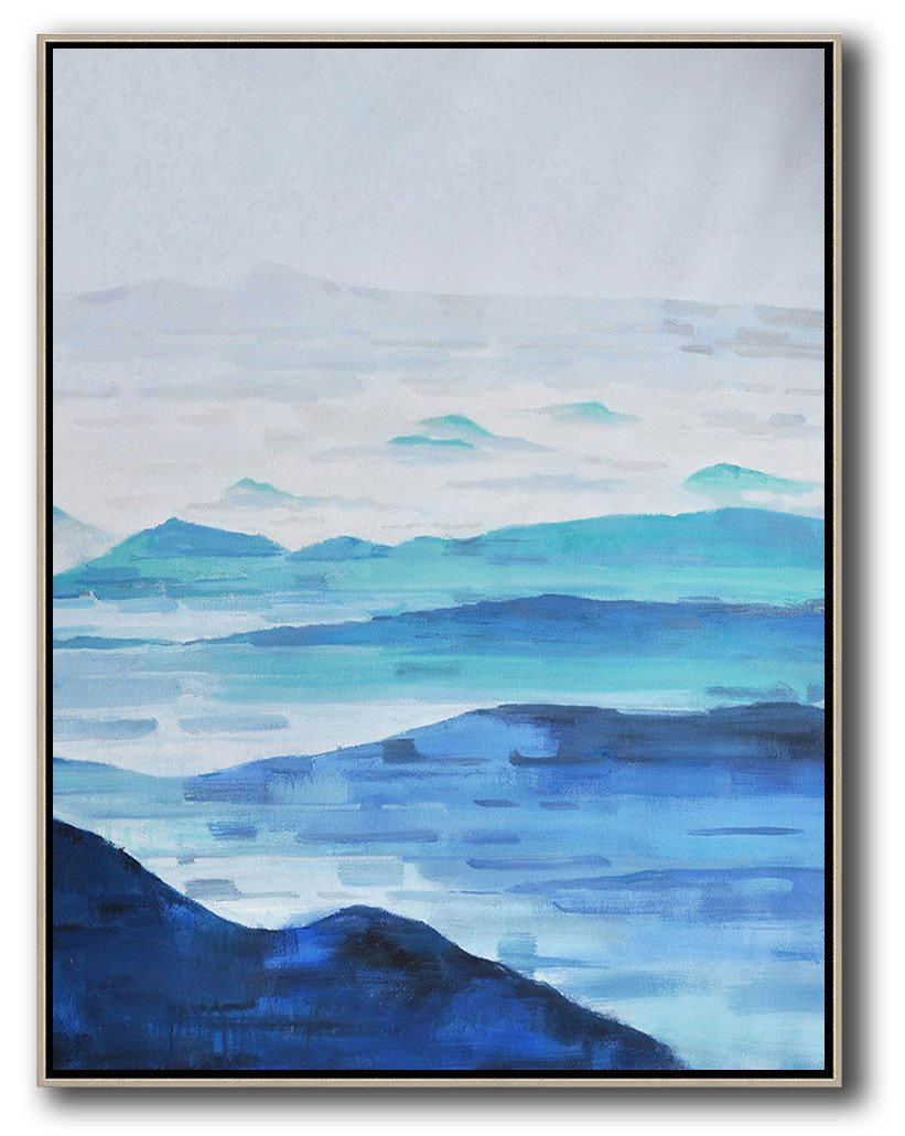 Extra Large Acrylic Painting On Canvas,Abstract Landscape Painting,Acrylic Painting Canvas Art,Grey,White,Blue.etc
