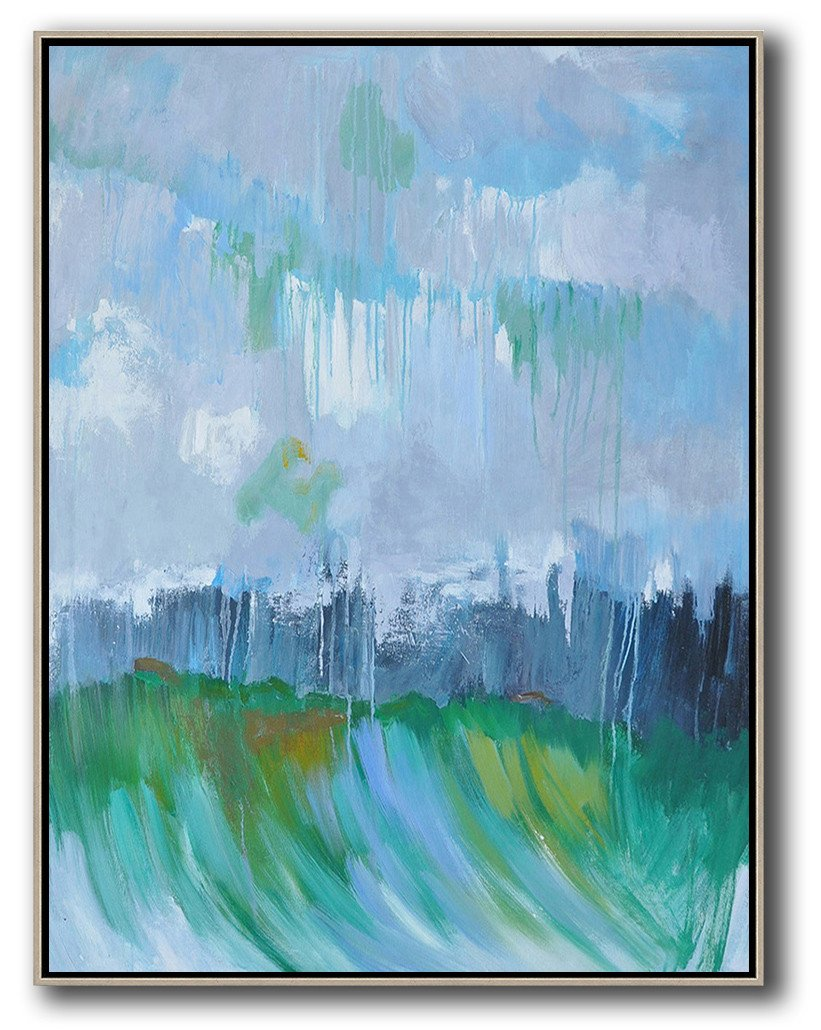 Large Abstract Painting On Canvas,Abstract Landscape Painting,Extra Large Canvas Art,Handmade Acrylic Painting,Sky Blue,Purple Grey,Dark Blue,Green.etc