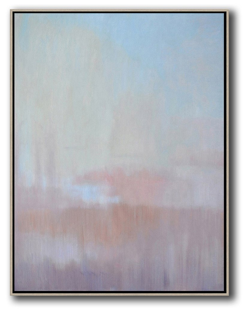 Extra Large Painting,Abstract Landscape Painting,Hand Painted Acrylic Painting,Sky Blue,Light Yellow,Pink.etc