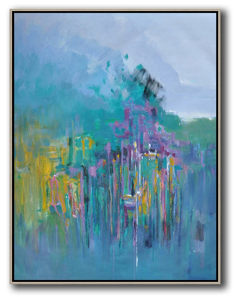 Abstract Painting Extra Large Canvas Art,Abstract Landscape Painting,Hand-Painted Contemporary Art,Purple Grey,Green,Purple,Yellow.etc