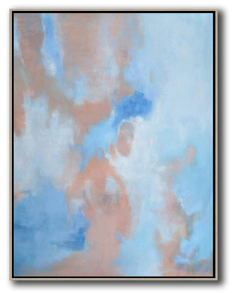 Handmade Large Contemporary Art,Abstract Landscape Painting,Modern Art Abstract Painting,Pink,Blue,White.etc
