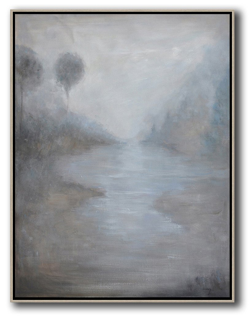 Large Abstract Art Handmade Oil Painting,Abstract Landscape Painting,Living Room Canvas Art,White,Grey,Black.etc