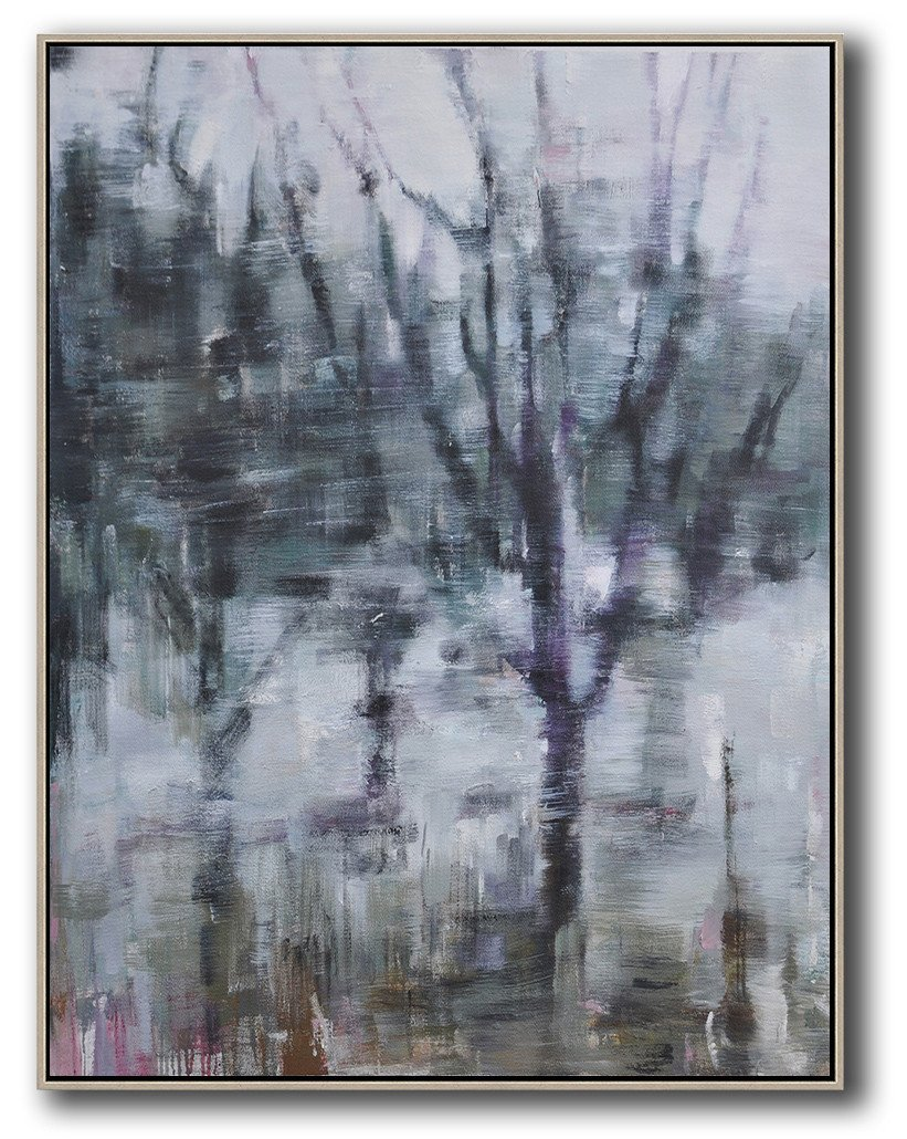 Handmade Extra Large Contemporary Painting,Abstract Landscape Painting,Original Abstract Painting Canvas Art,White,Dark Green,Grey,Purple.etc