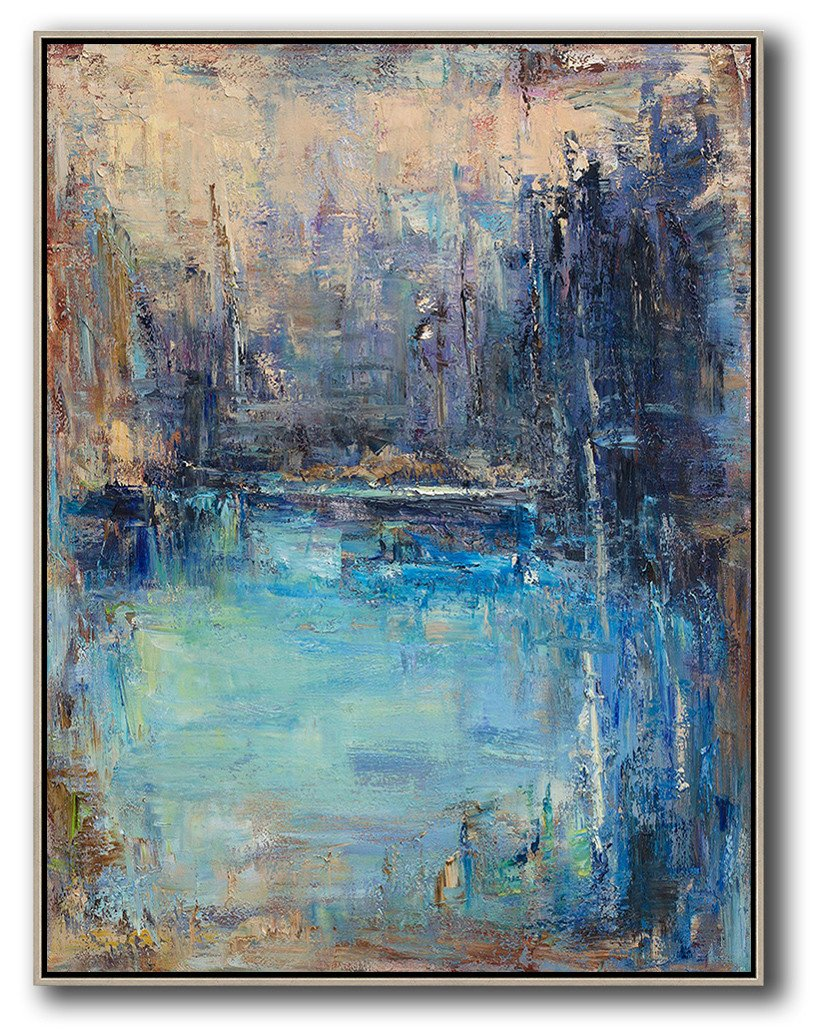 Extra Large Acrylic Painting On Canvas,Abstract Landscape Painting,Abstract Painting Modern Art,Yellow.Blue,Purple.etc