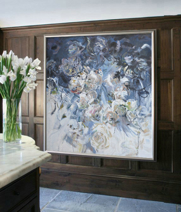 "Extra Large 72"" Acrylic Painting,Abstract Flower Oil Painting Large Size Modern Wall Art #Abs0A8,Modern Abstract Wall Art"