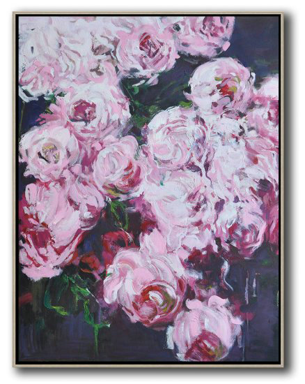 Large Abstract Painting Canvas Art,Hame Made Extra Large Vertical Abstract Flower Oil Painting #Abv0A16,Large Contemporary Painting