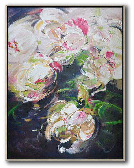 Large Abstract Art,Hame Made Extra Large Vertical Abstract Flower Oil Painting #Abv0A1,Huge Abstract Canvas Art