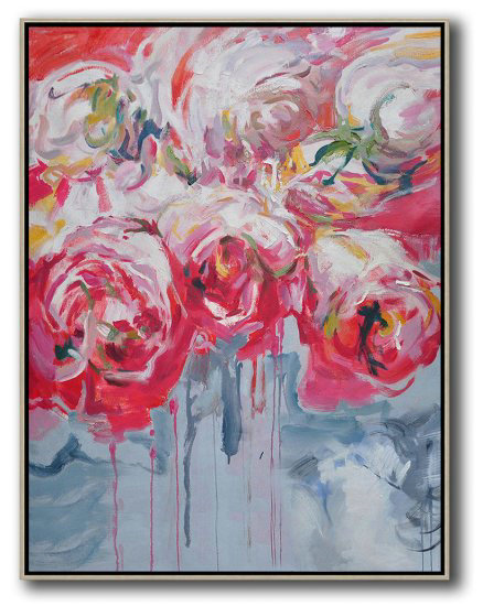 Extra Large Canvas Art,Hame Made Extra Large Vertical Abstract Flower Oil Painting #Abv0A24,Original Abstract Painting Canvas Art