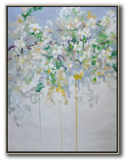 Extra Large Acrylic Painting On Canvas,Hame Made Extra Large Vertical Abstract Flower Oil Painting #Abv0A25,Big Art Canvas