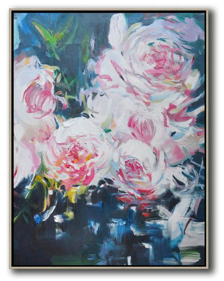 Large Abstract Art Handmade Oil Painting,Hame Made Extra Large Vertical Abstract Flower Oil Painting #Abv0A2,Large Oil Canvas Art