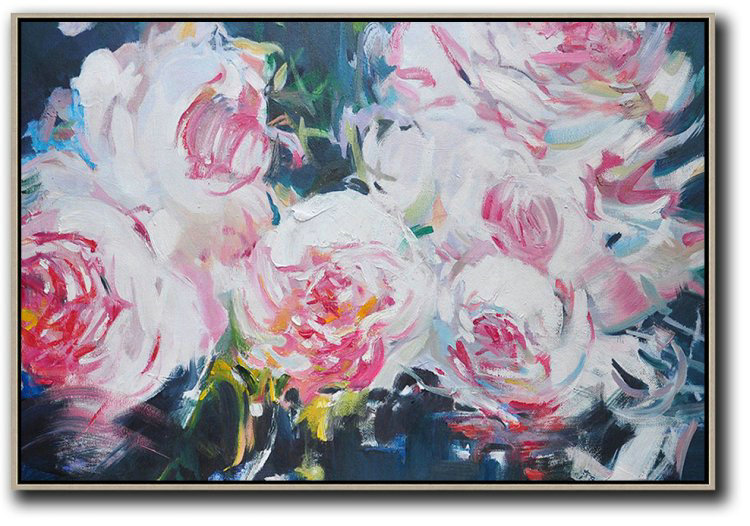 Handmade Large Contemporary Art,Horizontal Abstract Flower Painting Living Room Wall Art #Abh0A22,Modern Paintings On Canvas