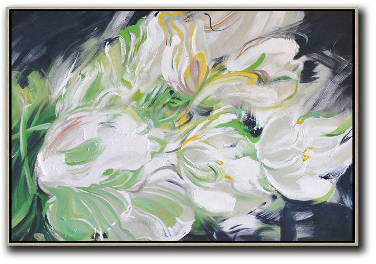 Large Abstract Painting,Horizontal Abstract Flower Painting Living Room Wall Art #Abh0A24,Big Canvas Painting