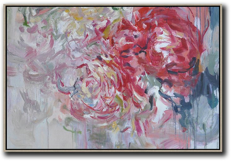 Large Contemporary Art Acrylic Painting,Horizontal Abstract Flower Painting Living Room Wall Art #Abh0A31,Acrylic Painting Wall Art