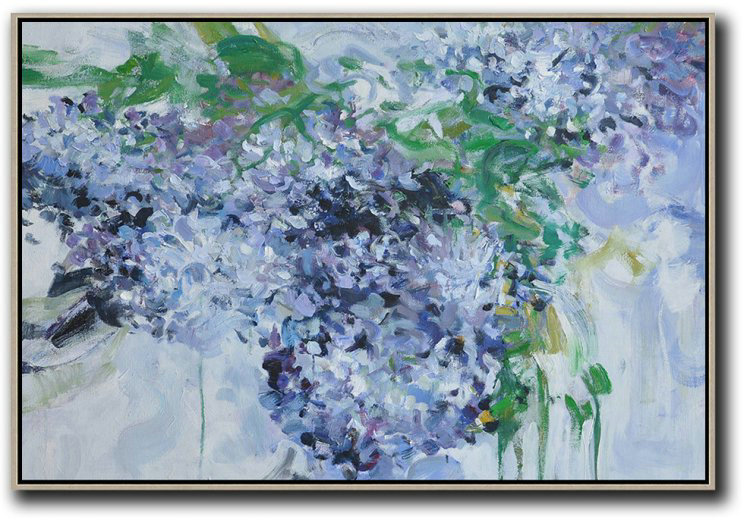 Extra Large Painting,Horizontal Abstract Flower Painting Living Room Wall Art #Abh0A34,Modern Art Abstract Painting