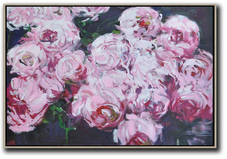 Extra Large Acrylic Painting On Canvas,Horizontal Abstract Flower Painting Living Room Wall Art #Abh0A36,Large Contemporary Art Canvas Painting